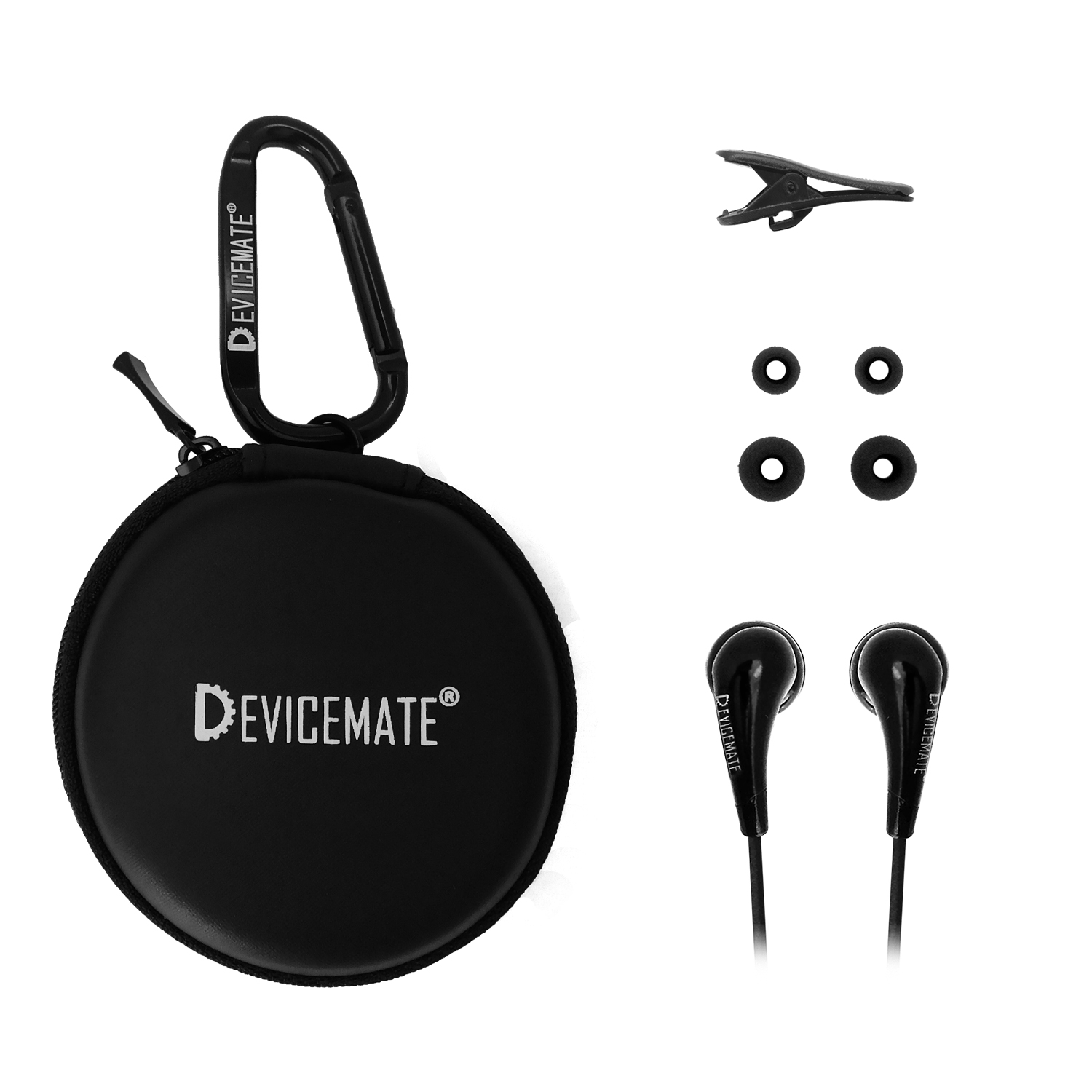 Devicemate SD 255-CBK In-Ear Stereo Earphones [Black] Case