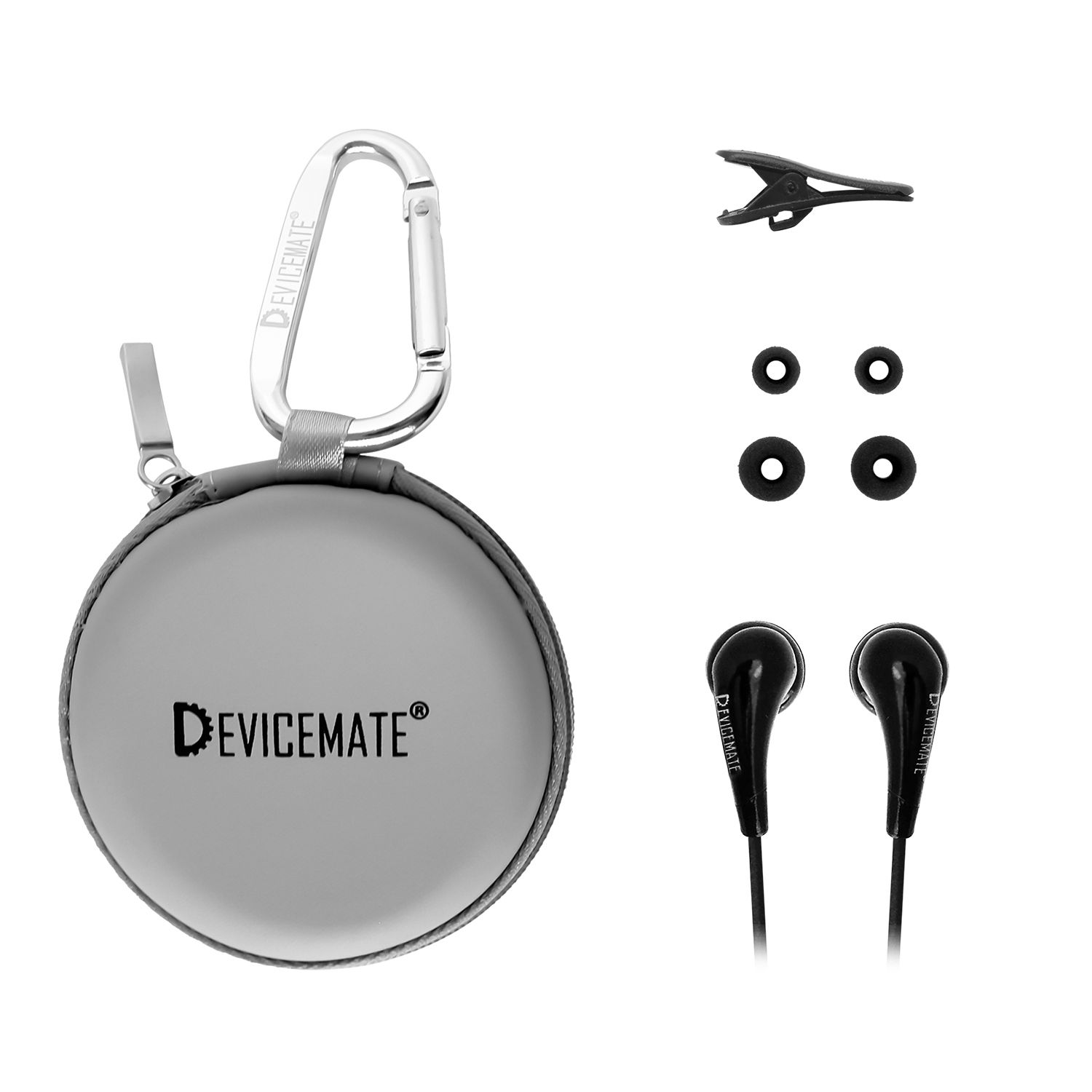 Devicemate SD 255-SLG In-Ear Stereo Earphones [Slate Gray] Case