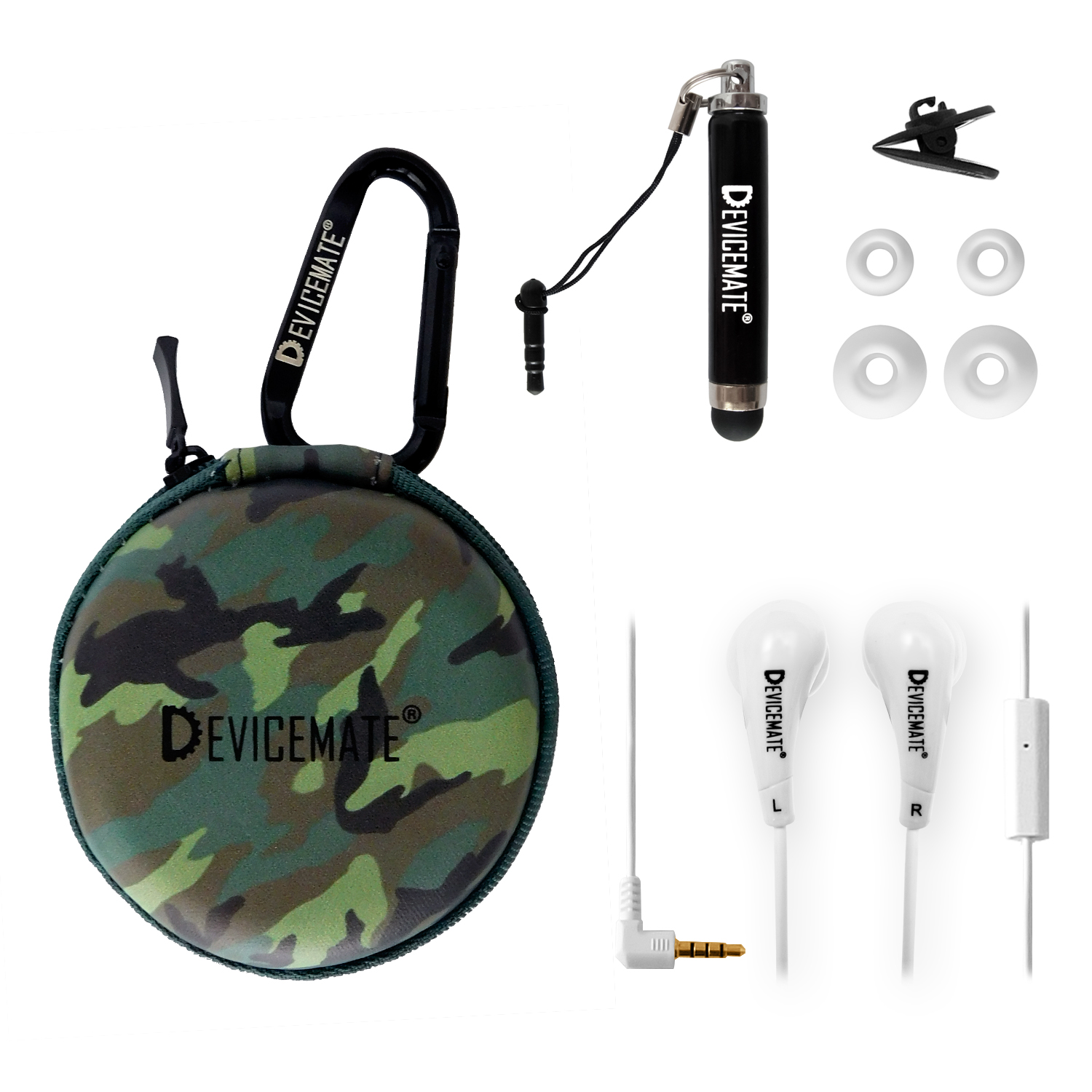 Devicemate SD 455-GCM Earphones w/mic for iPhone [Grn Camo] Case