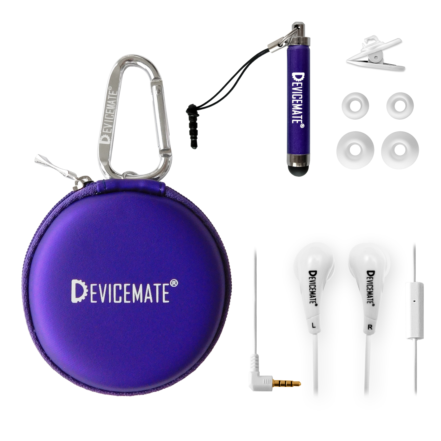 Devicemate SD 455-CPE Earphones w/mic for iPhone [Purple] Case
